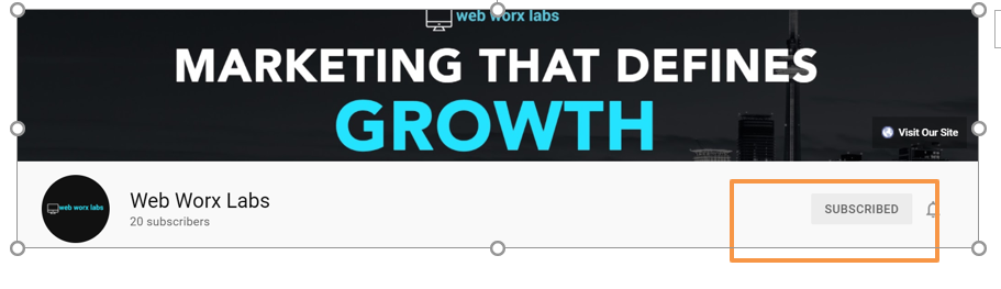 """Web Worx Labs YouTube Banner showing Subscribe button as a focus for the blog """"Do likes on social media channels matter?'"""