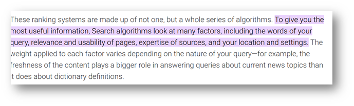 Google's official definition from their site on how search works extracted in picture format for the blog - Why does Google keep changing its algorithm