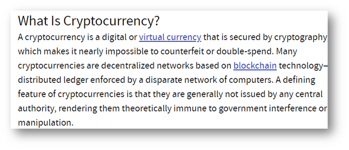 Cryptocurrency guide - official definition snippet from Investopedia on what is cryptocurrency