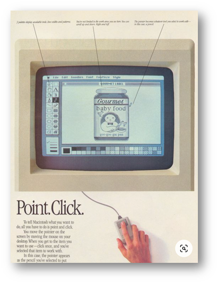 branding strartegy of apple in the early days with a Point.Click Ad from the 1980s