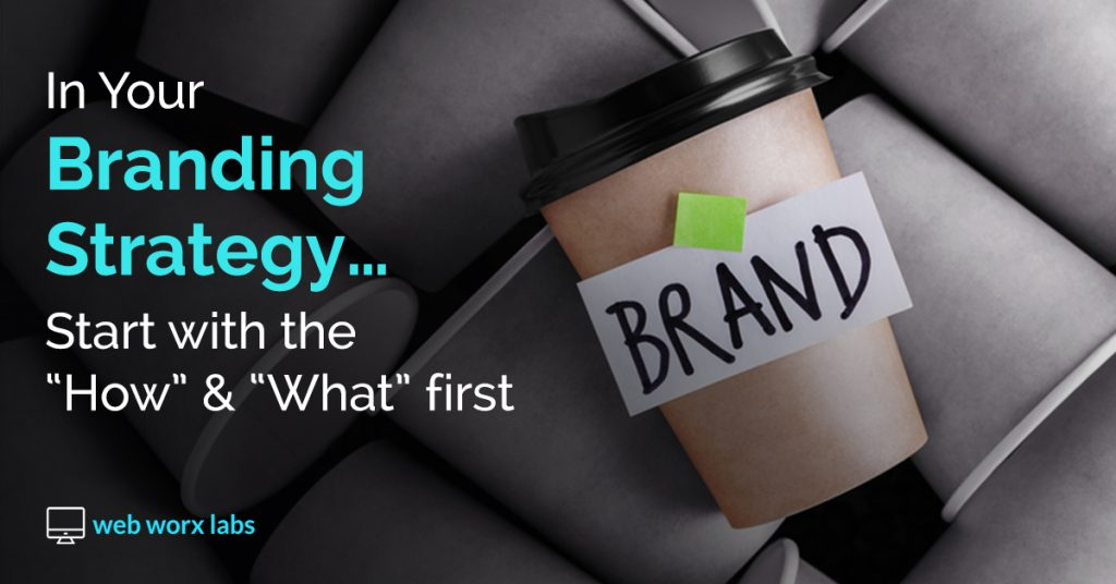Branding Strategy - Starting With the Why - blog banner with Brand written on cup - Web Worx Labs